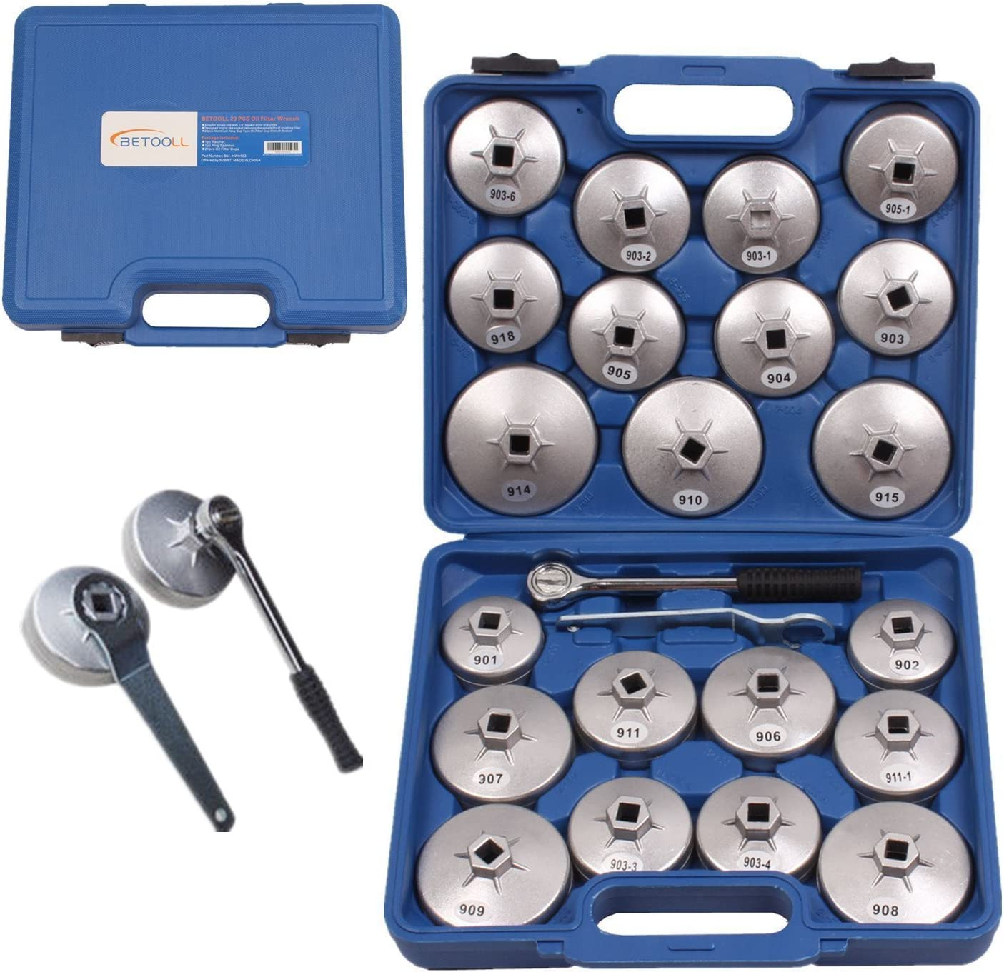 """BETOOLL HW0103 23pcs Aluminum Alloy Cup Type Oil Filter Cap Wrench Socket Removal Tool Set 1/2""""dr. with a Storage Case"""