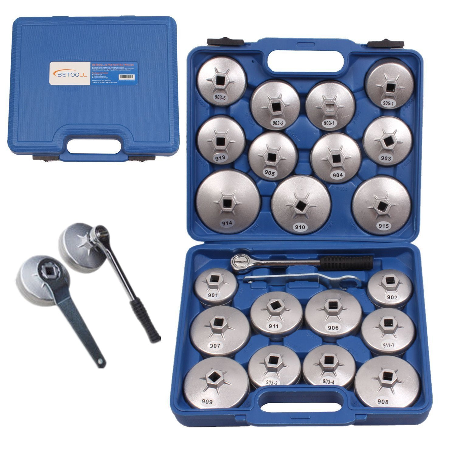 BETOOLL HW0103 23pcs Aluminum Alloy Cup Type Oil Filter Cap Wrench Socket Removal Tool Set 1/2''dr. with a Storage Case