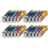 Lot de 20 cartouches d'encre pGI550XL cLI551XL pour canon avec puce et indicateur de niveau de remplissage pour canon pixma mG6400 mG6450, mG6600 mG6650 mX720, mX725, mX925, mX920 iX6800, iX6850 et cLI551BK remplace les modèles pGI550BK, cLI551C, cLI551M, cLI551Y