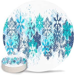 Coasters for Drinks Winter Crystal Snowflake Absorbent Ceramic Coaster with Cork Back for Bar Office Coffee, Housewarming Gifts Set of 4-