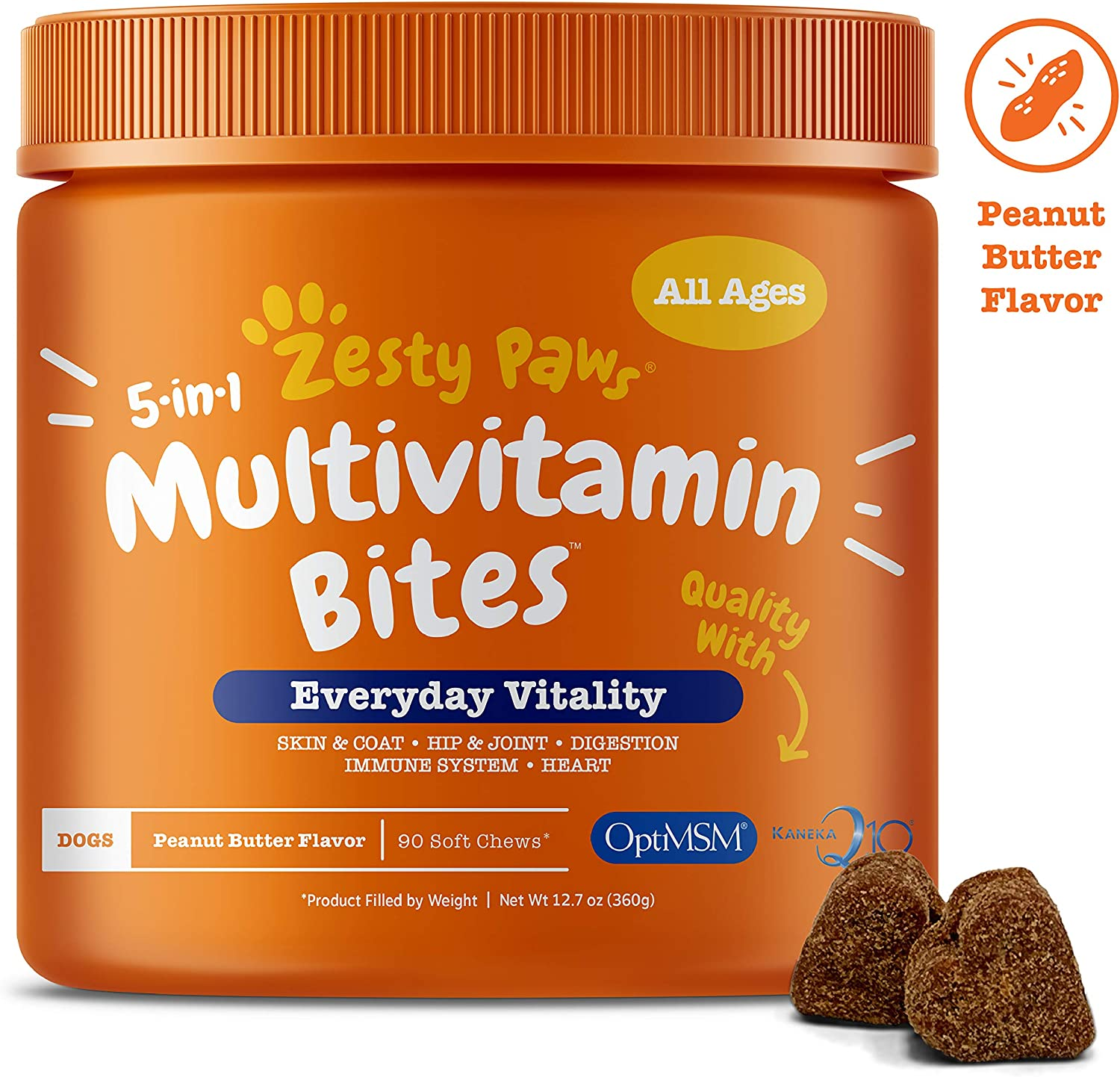 Multivitamin for Dogs – Glucosamine Chondroitin MSM for Hip Joint Arthritis – Fish Oil for Skin Coat Digestive Enzymes Probiotics CoQ10 Dog Vitamins – Peanut Butter – 90 Chew Treats