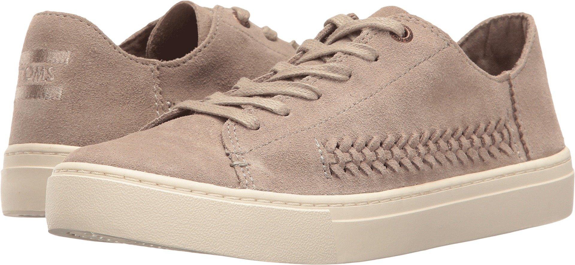 TOMS Women's Lenox Sneaker Desert Taupe Deconstructed Suede/Woven Panel 12 B US
