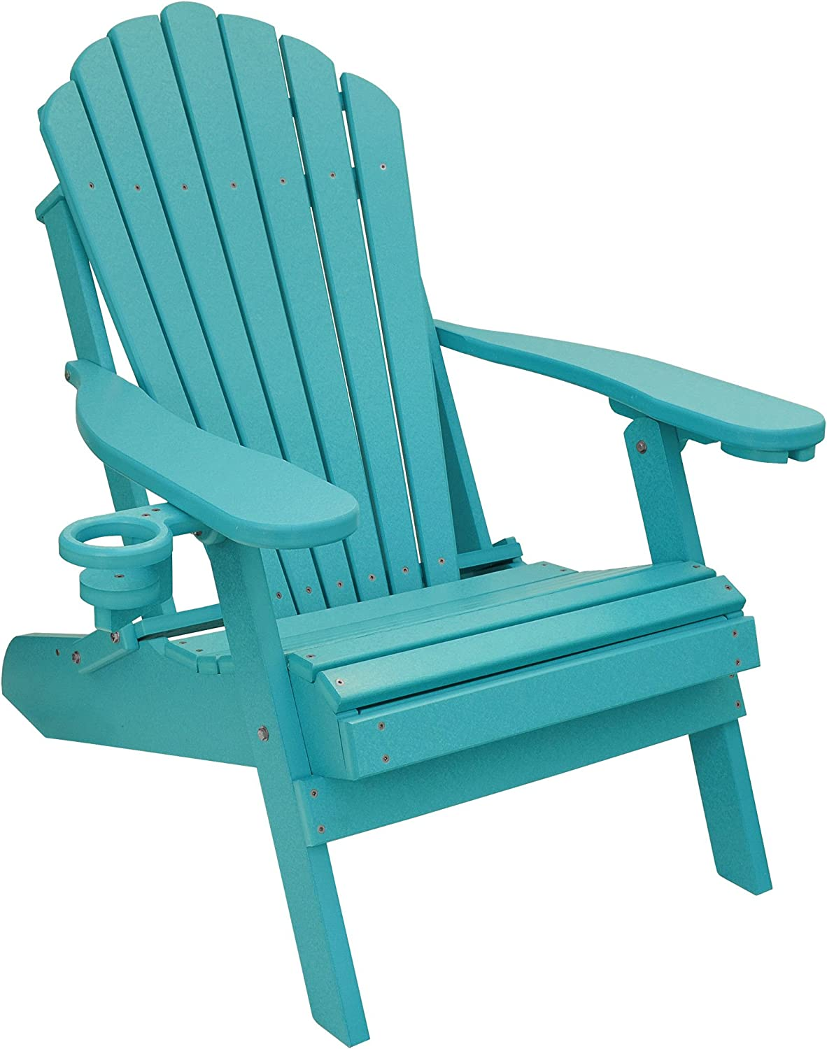 ECCB Outdoor Outer Banks Deluxe Oversized Poly Lumber Folding Adirondack Chair Aruba Blue