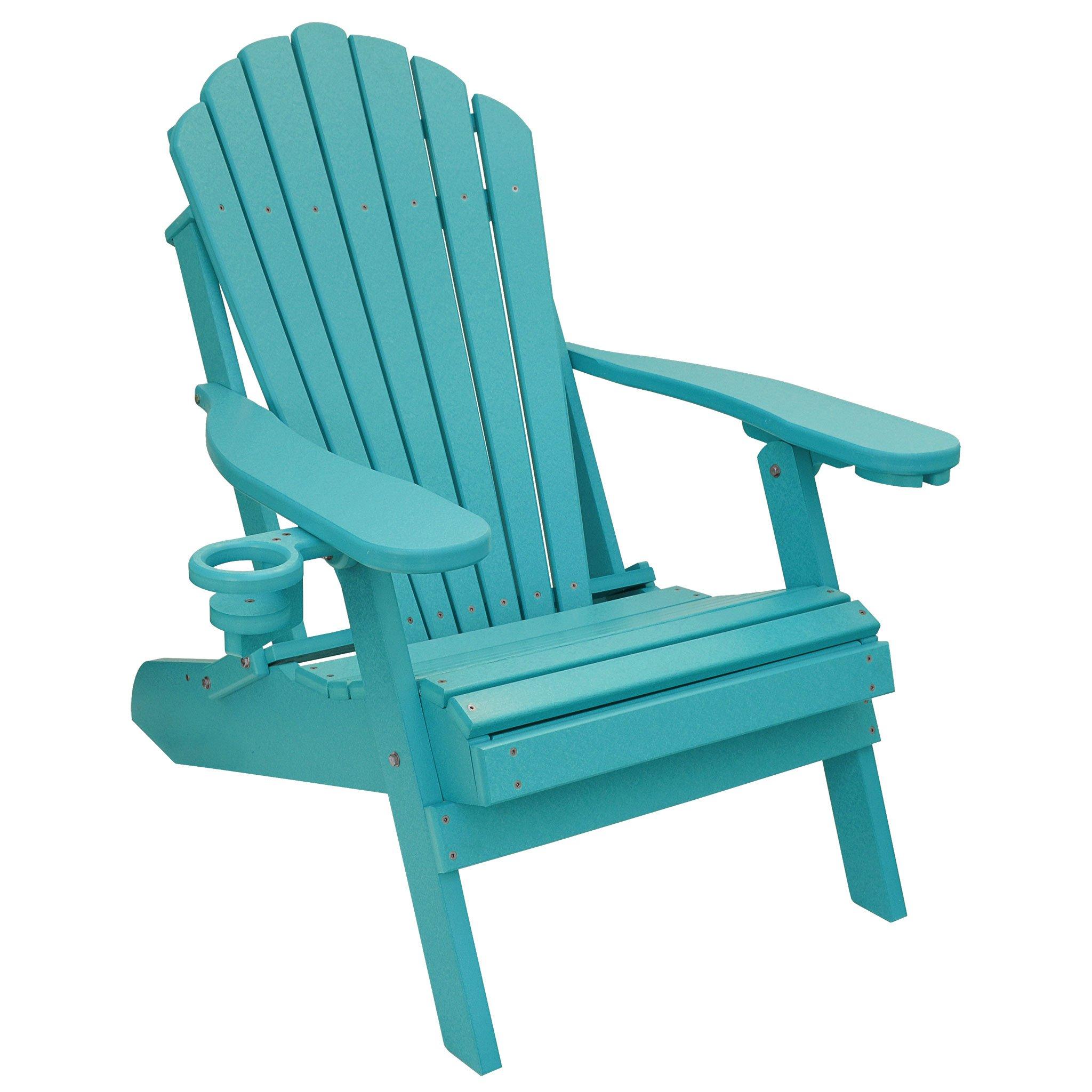 ECCB Outdoor Outer Banks Deluxe Oversized Poly Lumber Folding Adirondack Chair (Aruba Blue)