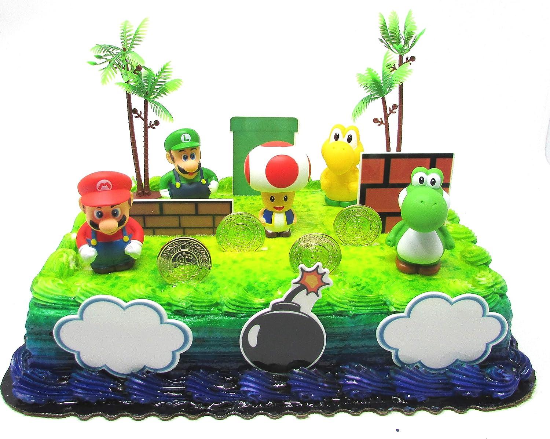 Fantastic Amazon Com Super Mario Brothers Birthday Cake Toper Set Featuring Funny Birthday Cards Online Necthendildamsfinfo