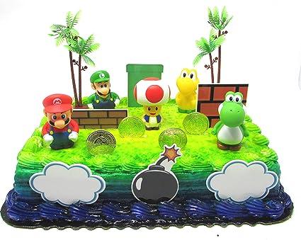 Stupendous Amazon Com Super Mario Brothers Birthday Cake Toper Set Featuring Personalised Birthday Cards Akebfashionlily Jamesorg