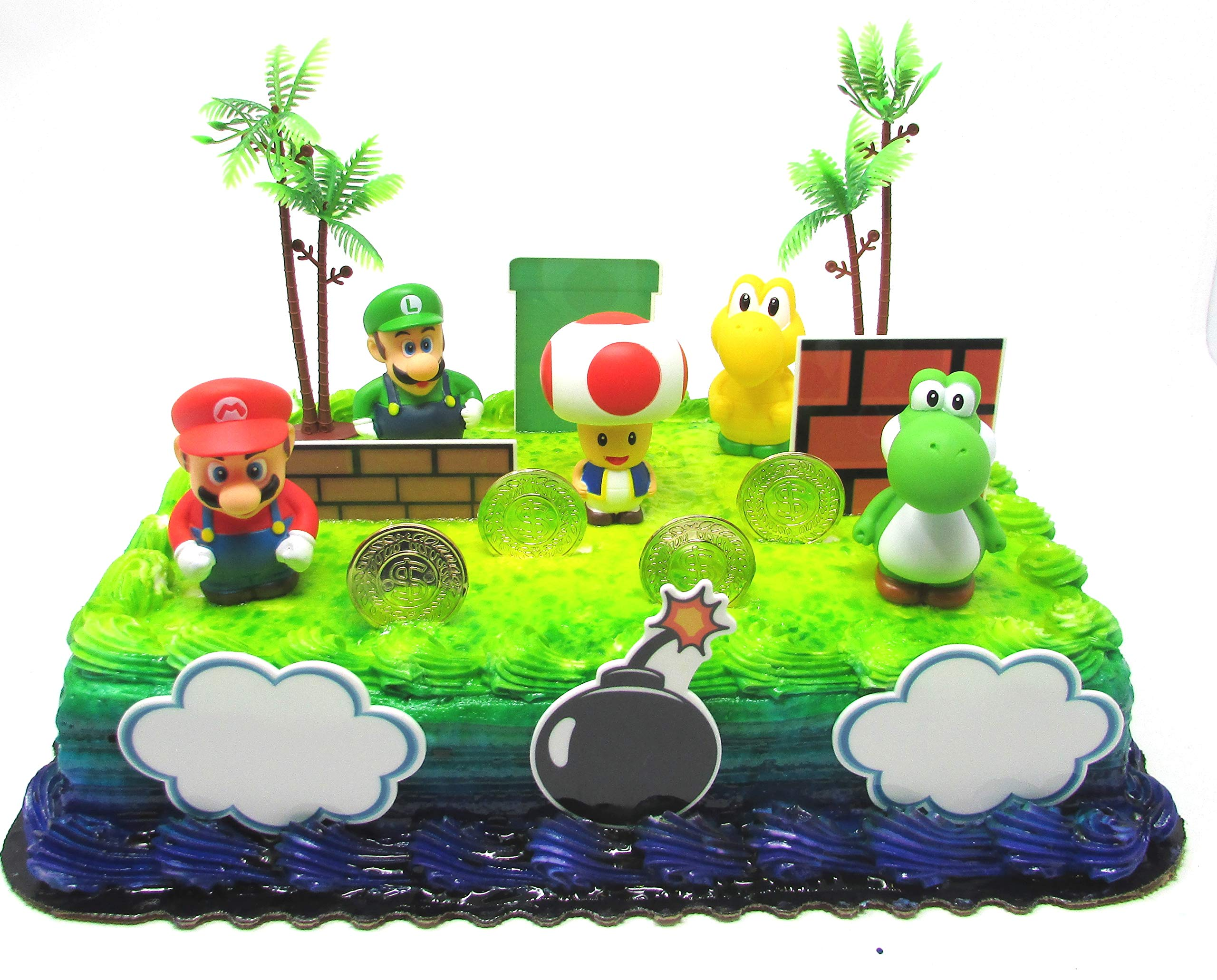 Super Mario Brothers Birthday Cake Toper Set Featuring Mario, Luigi, Toad, Yoshi and Decorative Themed Accessories by Celebration Events