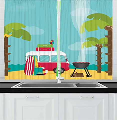 Amazon Com Ambesonne Explore Kitchen Curtains Caravan Camping With Barbeque And Surf Boards Tropical Beach Banana Coconut Trees Window Drapes 2 Panel Set For Kitchen Cafe Decor 55 X 39 Multicolor Home