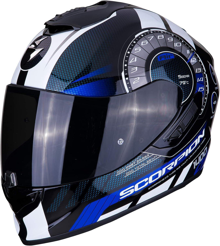 L Schwarz//Blau//Weiss Scorpion Motorradhelm EXO-1400 AIR TORQUE Blue