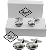 Rugby Ball Cufflinks Presented in a Magnetic Gift Box