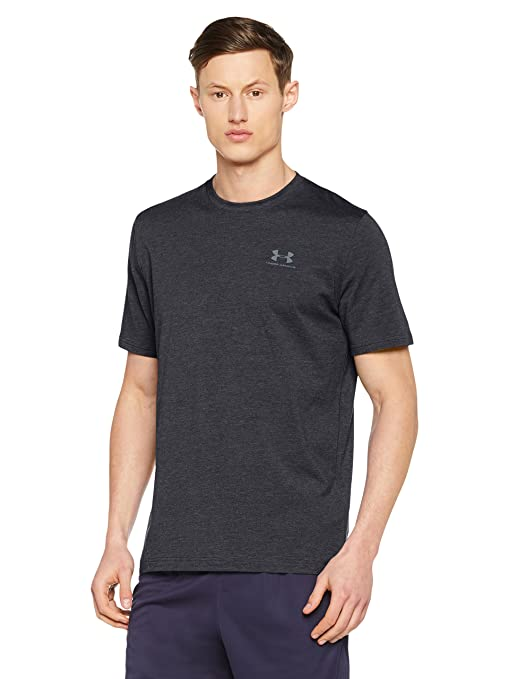 Under Armour Men's Charged Cotton Sportstyle T-Shirt, Black/Steel, XXX-