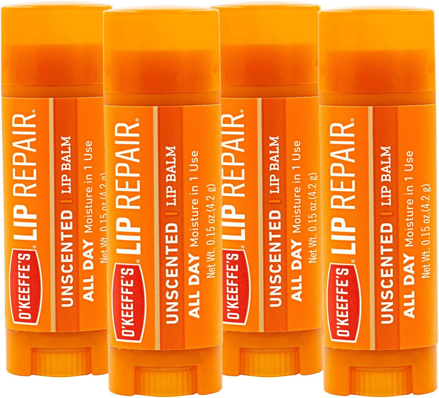 O'Keeffe's Unscented Lip Repair Lip Balm for Dry, Cracked Lips, Stick, (Pack of 4)
