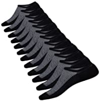 No Show Socks Men 6 Pairs Black Mens Cotton Low Cut Socks Non-Slip Grips Casual Low Cut Boat Sock Size 6-11
