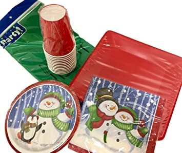 53 Piece Jolly Snowman Holiday Christmas Disposable Paper Plates Napkins CupsTablecloth Party  sc 1 st  Amazon.com & Amazon.com: 53 Piece Jolly Snowman Holiday Christmas Disposable ...