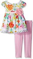 Youngland Girls' Floral Printed Lace Legging Set
