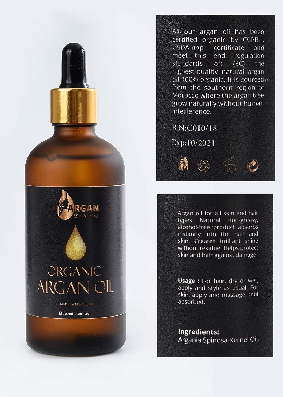 Aceite de argán de oro puro 100 ml / Triple filtrado y purificado / Prensado en frío y orgánico / El aceite de argán marroquí más fino y puro para cabello / cara / cuerpo y uñas