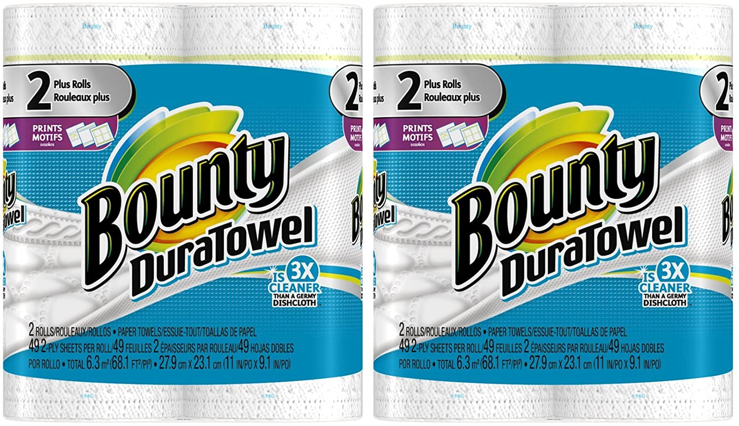 Amazon.com: Bounty DuraTowel Paper Towels, Prints, King Roll - 4 pk: Health & Personal Care