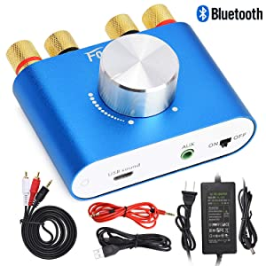 F900 Mini Bluetooth Power Amplifier Wireless Audio Receiver with 12V 5A DC Adapter, Stereo Hi-Fi Digital Amp 2 Channel 50W 2 with AUX/USB/Bluetooth Input (Amplifier+Adapter, Blue)