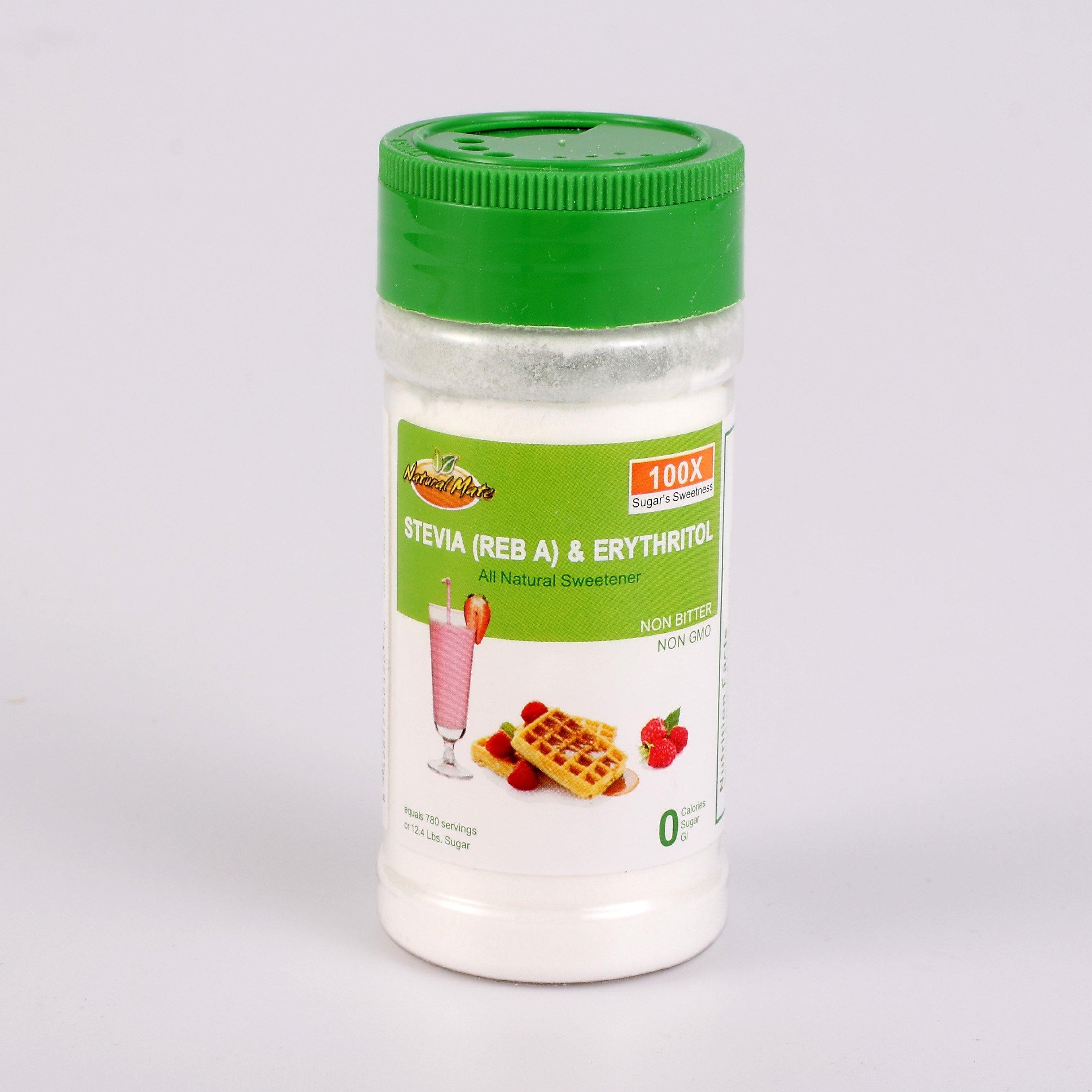 Natural Mate Non-bittered Stevia & Erythritol (2oz - Sweetener 780 Servings/Bottle) - 100x Sugar's Sweetness