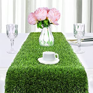 Ruisita Grass Table Runners 108 x 12 Inches/ 275 x 30 cm Artificial Grass Table Runners Synthetic Grass Table Runner Grass Table Runner Decor for Vacations, Birthdays