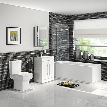 Ensemble de salle de bain avec douche, baignoire droite, vasque ...