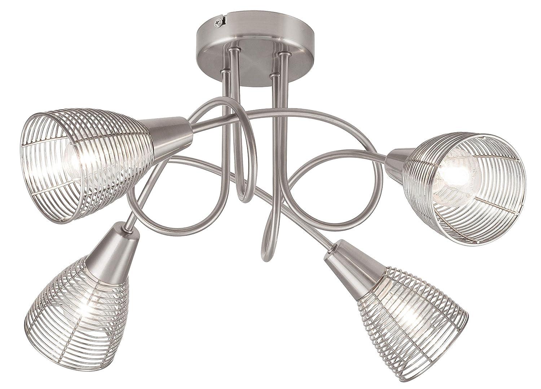 Deckenleuchte aus Metall, Veronica, chrom matt, E14, leuchtenladen, Deckenlampe