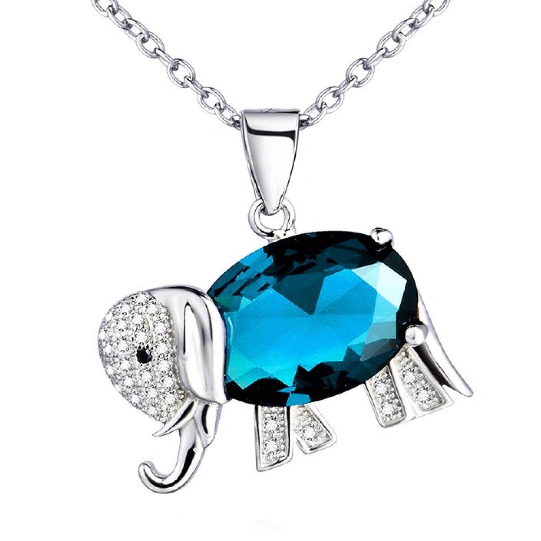 Colgante para chica o mujer en plata de ley 925 y Circonita Ideal para regalo a tus seres queridos con forma de Elefante de la Buena Suerte