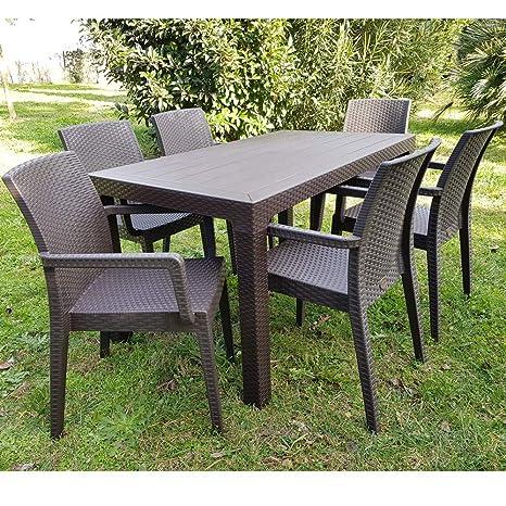 Amazon Offerte Tavoli Da Giardino.Set Tavolo E Sedie Poltrone Da Giardino Rattan Resina Amazon It
