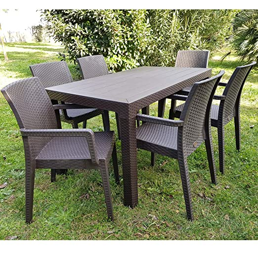 Sedie E Tavoli Da Giardino In Vimini.Dimaplast Set Tavolo E Sedie Poltrone Da Giardino Rattan Resina