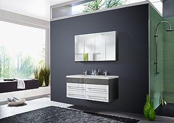 Sam Badmobel Dali 2tlg Design Badezimmer Set Grau Weiss Hochglanz