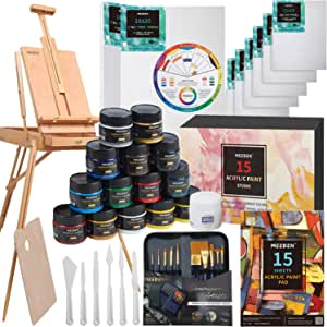 MEEDEN Great Deluxe Value Acrylic Painting Kit with French Style Easel, 15×100ML(3.38 oz) Acrylic Paints, 10xAcrylic Paintbrushes, 2xStretched Canvas, 6xCanvas Panels, Nice Artists, Beginners