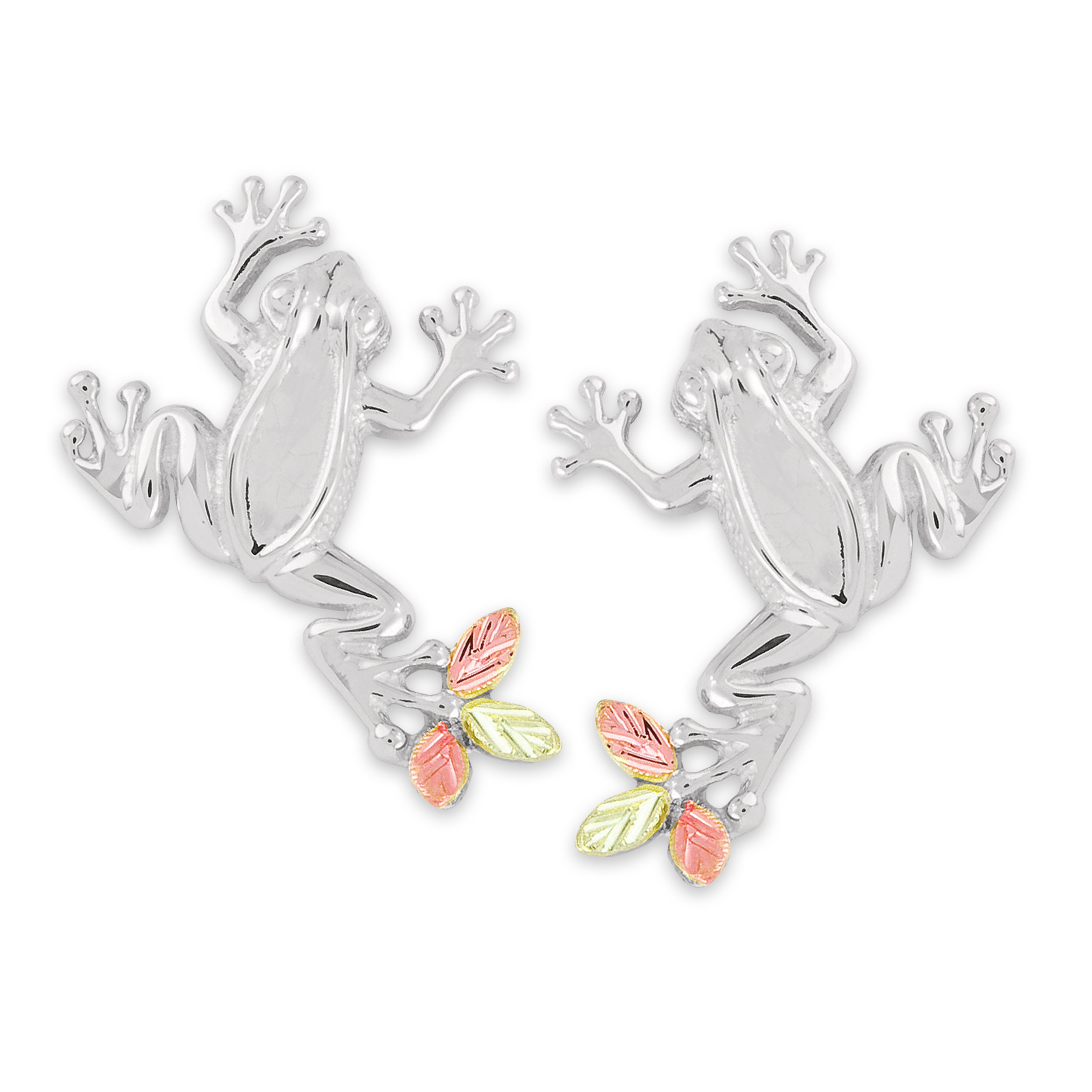 Petite Frog Design Earrings, Sterling Silver, 12k Green and Rose Gold Black Hills Gold Motif