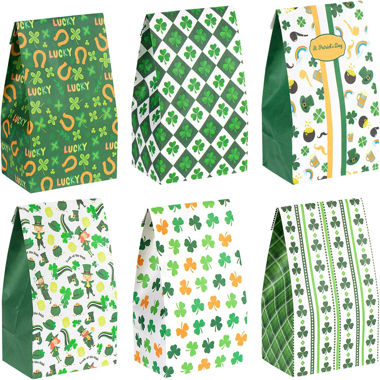 St 12 pack Patricks Day Party Supplies Cellophane Shamrock Bags