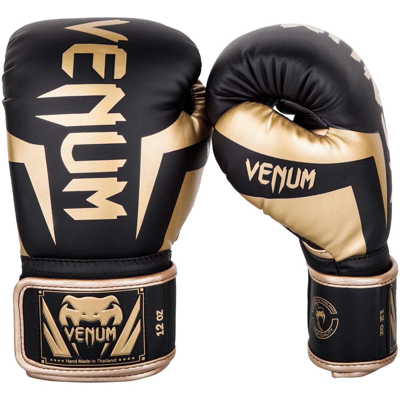 Venum Elite Boxing Gloves - Black/Gold - 8oz