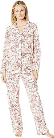 d7cb8670b96 Lauren Ralph Lauren Women's Classic Knit Notch Collar Pajama Set Red Cream  Paisley Print Small