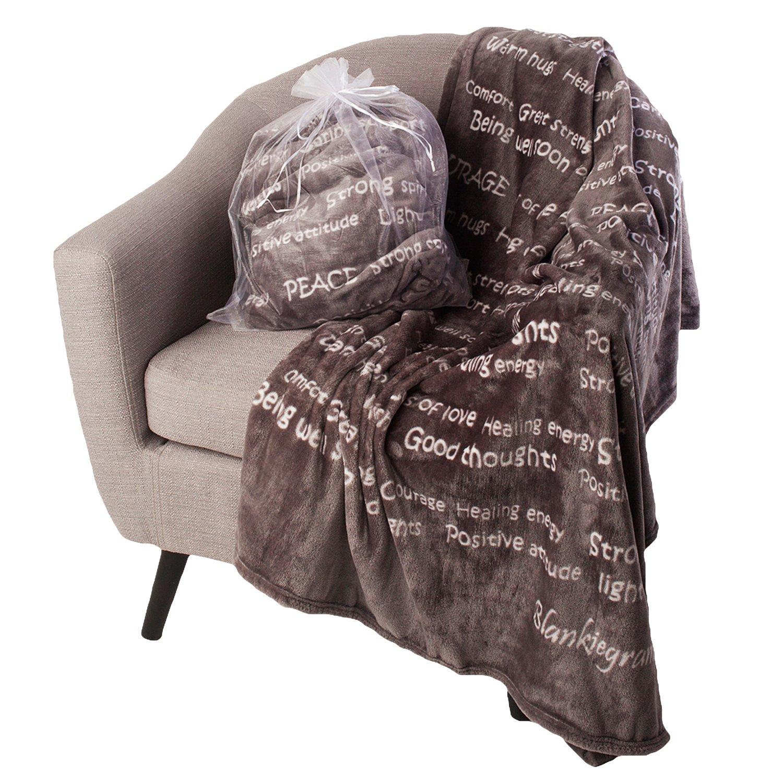 BlankieGram Healing Thoughts Blanket The Ultimate Healing Gift (Grey) by BlankieGram.com