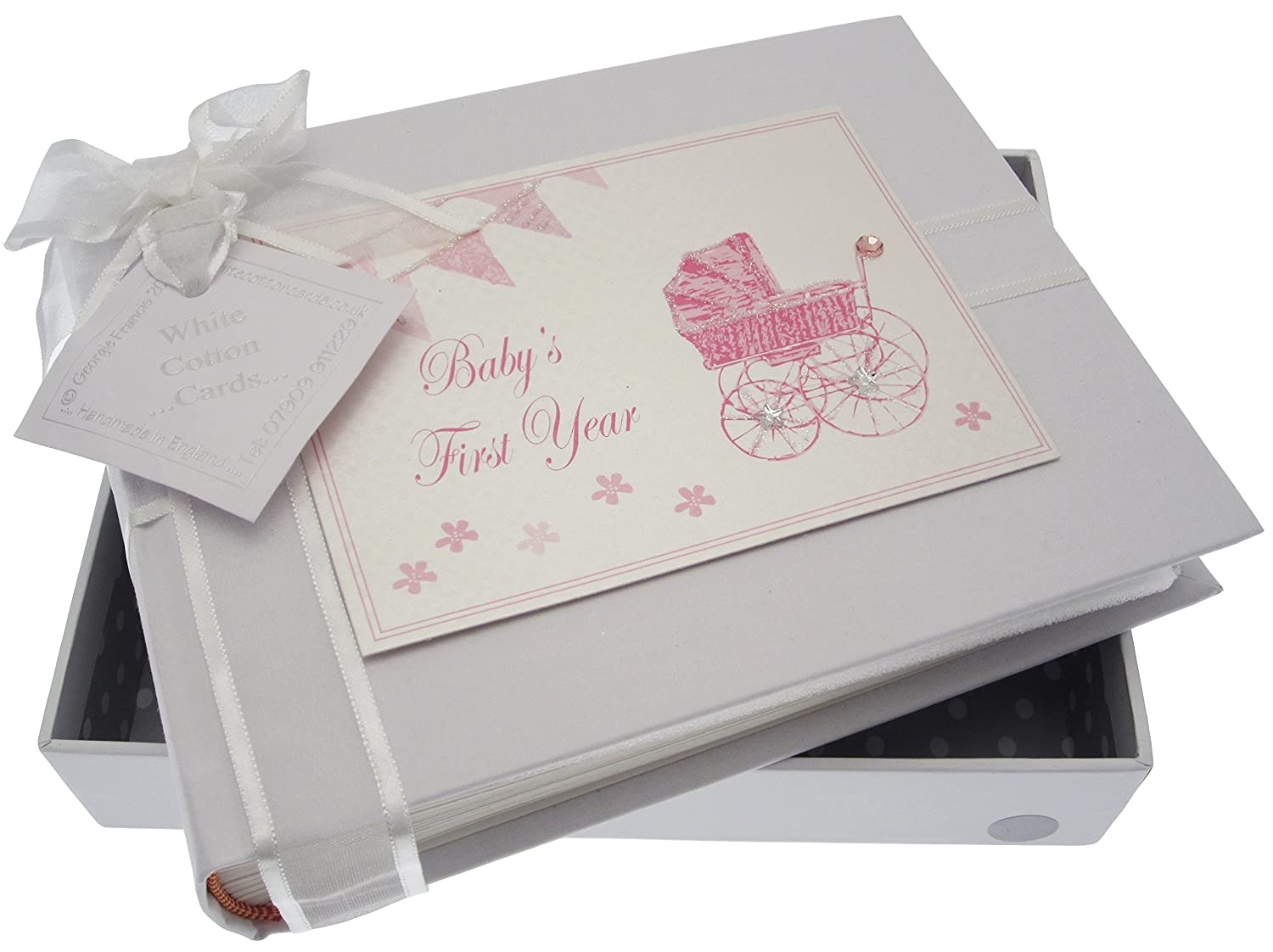 White Cotton Cards Babys First Year Small Album Pink Pram and Bunting