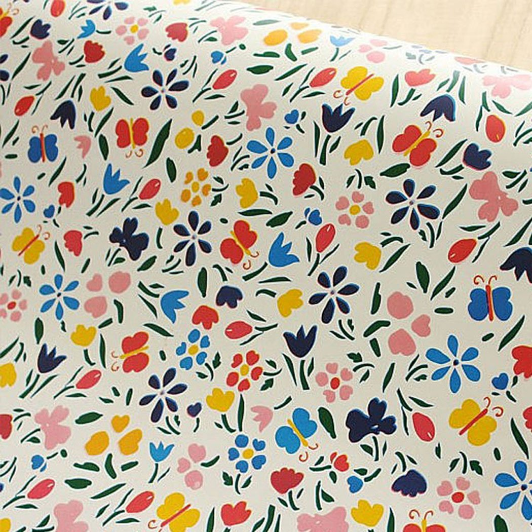 Decorative Floral Butterfly Pattern Contact Paper Self Adhesive Vinyl Shelf Drawer Liner for Cabinets Shelves Drawer Dresser Arts and Crafts Decal 17.7x78.7 Inches
