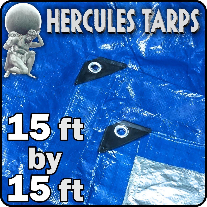 15' x 15' - Hercules Tent Shelter Tarp Cover Waterproof Tarpaulin Plastic Tarp Protection Sheet for Contractors, Campers, Painters, Farmers, Boats, Motorcycles, Hay Bales - Hercules Tarp - Blue/Silver