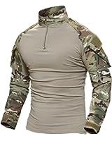 TACVASEN タクティカル シャツ 長袖 ミリタリー Tシャツ TDUシャツ メンズ アウトドア スポーツシャツ 自衛隊迷彩 サバゲー装備 耐久性 透湿性