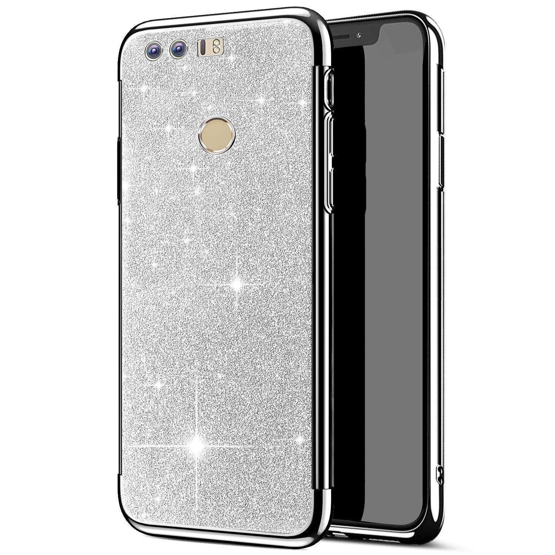 JAWSEU Cover Custodia Huawei Honor 8 Silicone TPU, Cristallo Chiaro Lusso Placcatura Bling Glitter Silicone Gel Protettiva Copertura Super Sottile Trasparente Morbido Bumper Case
