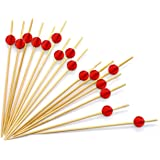 "4.7"" Red Bamboo Cocktail Ball Picks. Includes 300 Decorative Bamboo Cocktail Skewers With Red Shiny Beads. Great For Cocktail Parties, Hors D'oeuvres, Weddings, Receptions, Holidays And Much More!!"