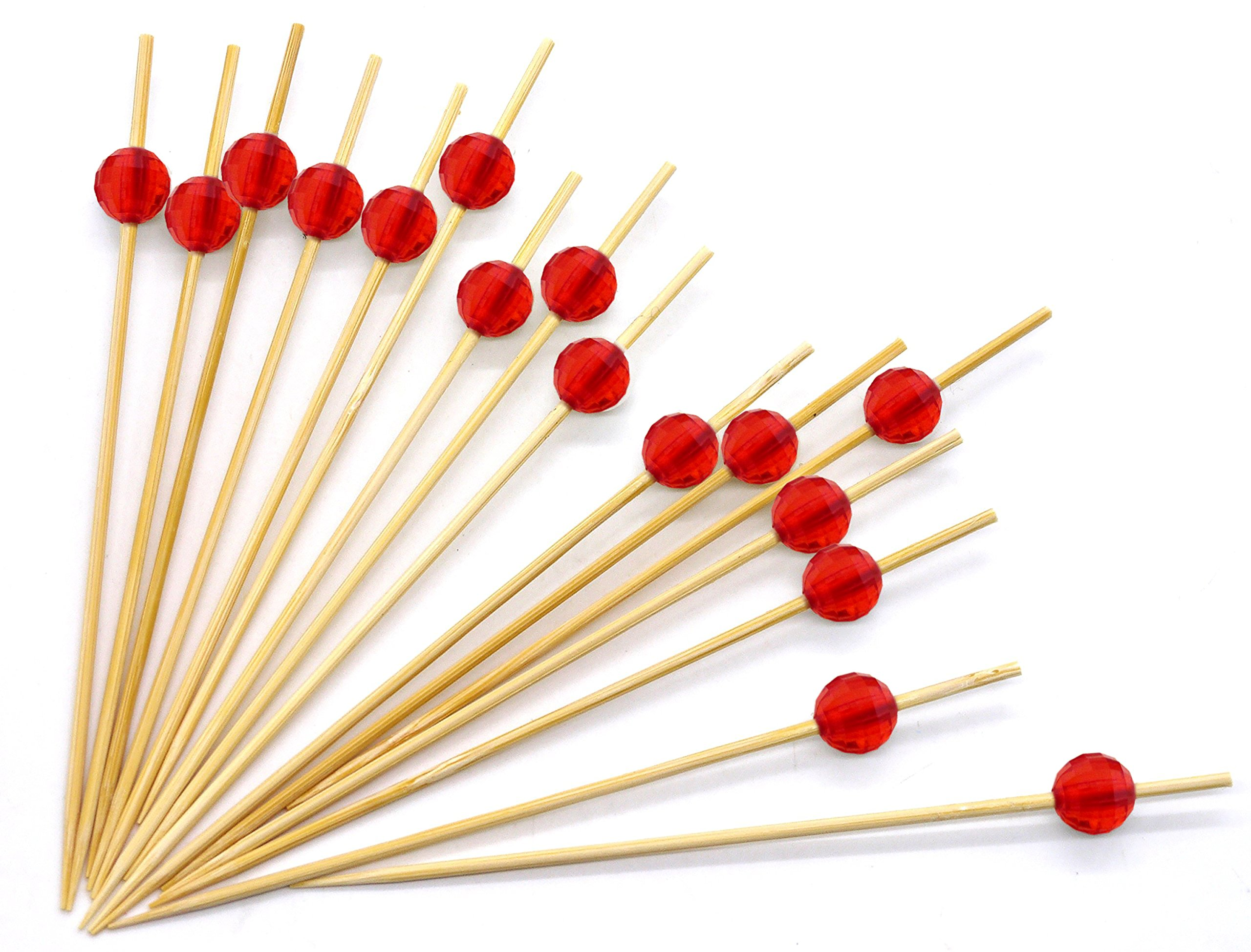 4.7'' Red Bamboo Cocktail Ball Picks. Includes 300 Decorative Bamboo Cocktail Skewers With Red Shiny Beads. Great For Cocktail Parties, Hors D'oeuvres, Weddings, Receptions, Holidays And Much More!!
