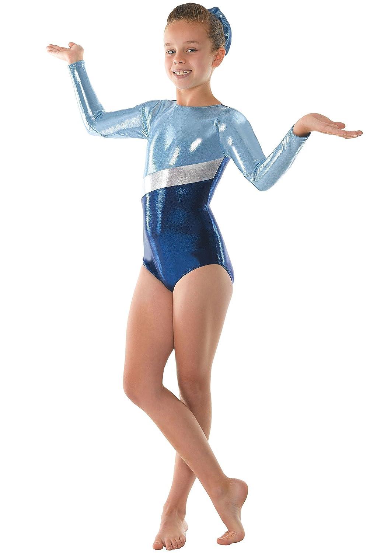 Girls Gymnastics Leotard Super Shiny Metallic with Silver Stripe Tappers & Pointers