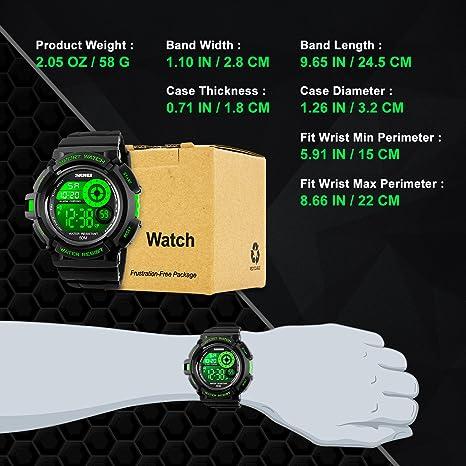 Reloj digital deportivo para hombre, reloj de pulsera a la moda y esfera grande, resistente al agua 5 ATM, color verde: Amazon.es: Relojes