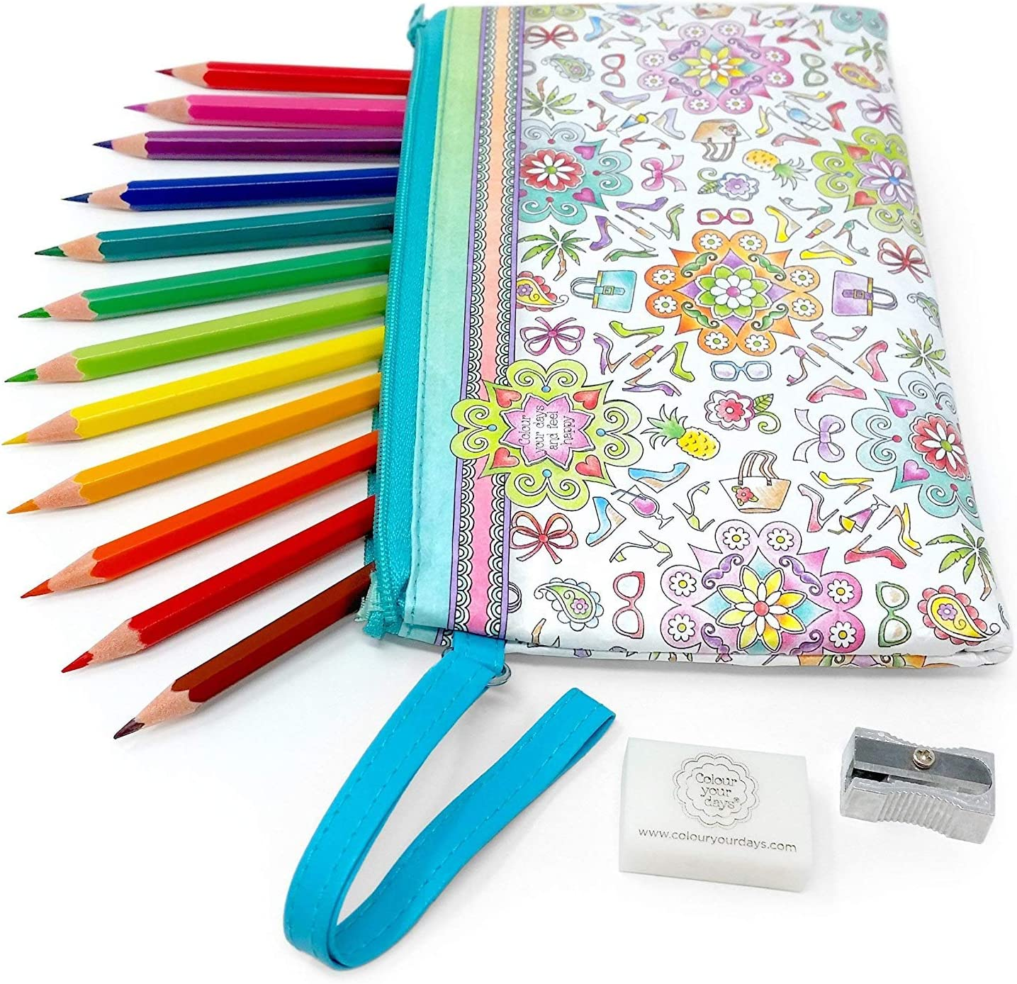 Collins - Colour Your Days - Estuche Set con Lápices de Colores, Borrador, y Sacapuntas: Amazon.es: Oficina y papelería