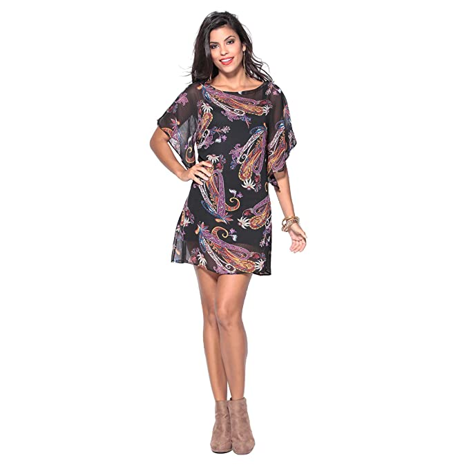 VENCA Vestido Escote Semi Barco Mujer by Vencastyle - 144617,Negro/Estampado,36