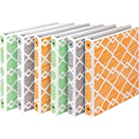 Samsill Fashion Design 3 Ring Binder,Diamond Weave Print, 1 Inch Round Rings, Assorted Colors  (Green, Gray, Orange), Bulk Binders - 6 Pack