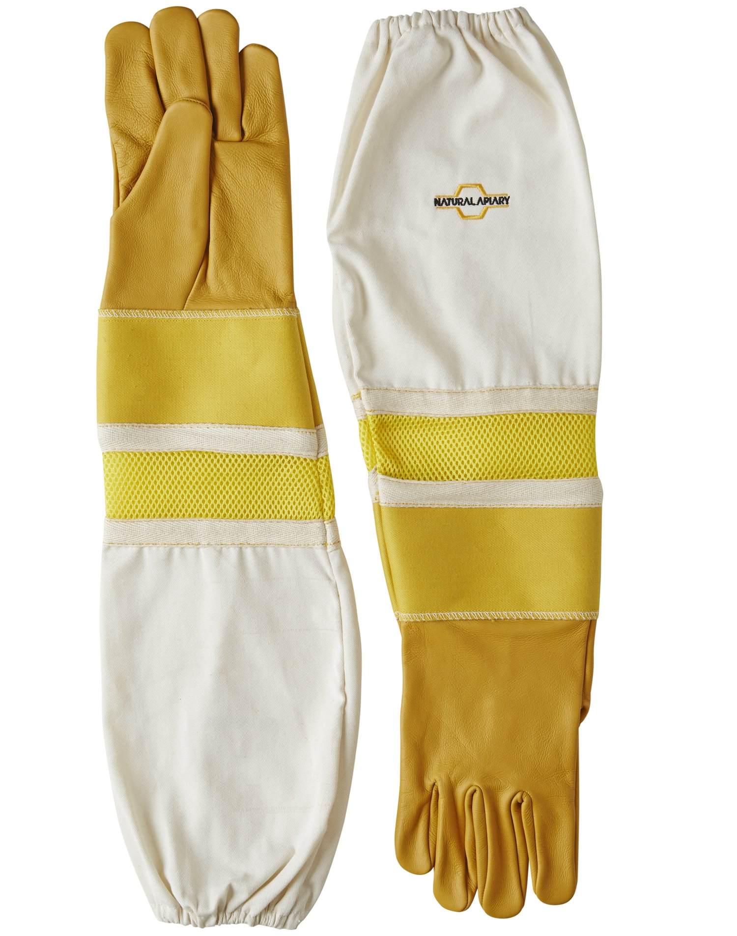 Natural Apiary Cowhide - Beekeeping Gloves - Ventilated Sleeves - Sting Proof Cuffs - Extra Long Extra Long Twill Elasticated Gauntlets - X X Large