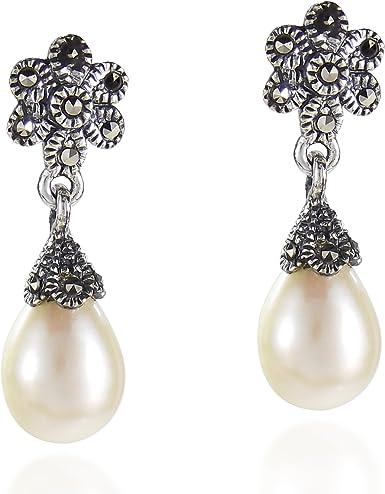 Cultured Pearl /& Cubic Zirconia Vintage Sterling Silver Stud Earrings